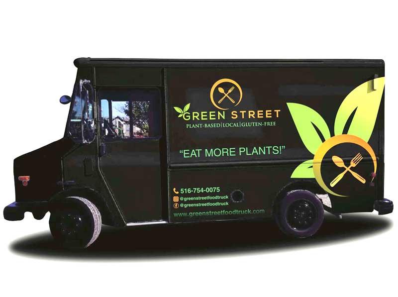 green healthy food truck